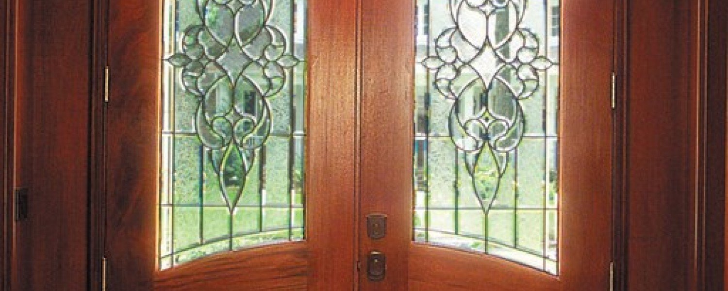 True Arched French Doors With Art Glass Interior